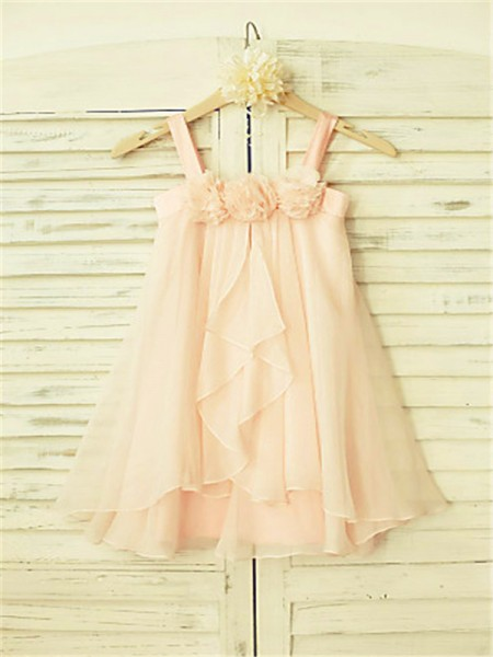 A-line/Princess Sleeveless Chiffon Tea-Length Ruffles Spaghetti Straps Flower Girl Dresses