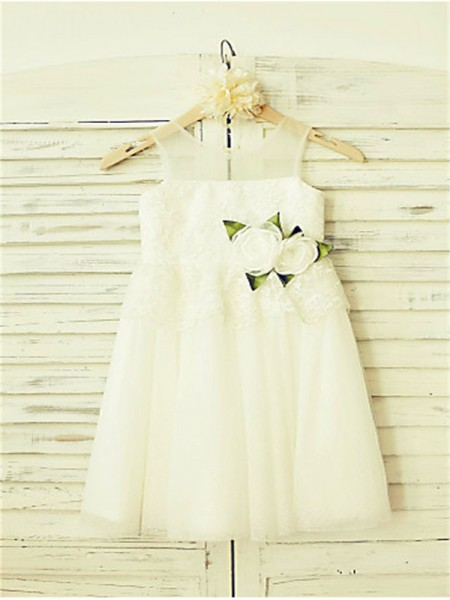 A-line/Princess Sleeveless Tulle Floor-Length Hand-Made Flower Straps Flower Girl Dresses