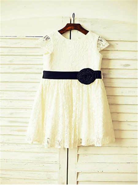 A-line/Princess Short Sleeves Lace Tea-Length Hand-Made Flower Scoop Flower Girl Dresses