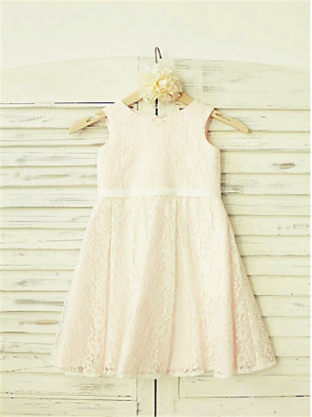 A-line/Princess Sleeveless Lace Floor-Length Lace Jewel Flower Girl Dresses