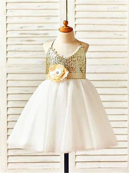 A-line/Princess Sleeveless Tulle Tea-Length Sequin Halter Flower Girl Dresses