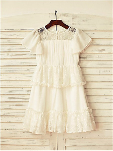 A-line/Princess Short Sleeves Chiffon Floor-Length Lace Scoop Flower Girl Dresses