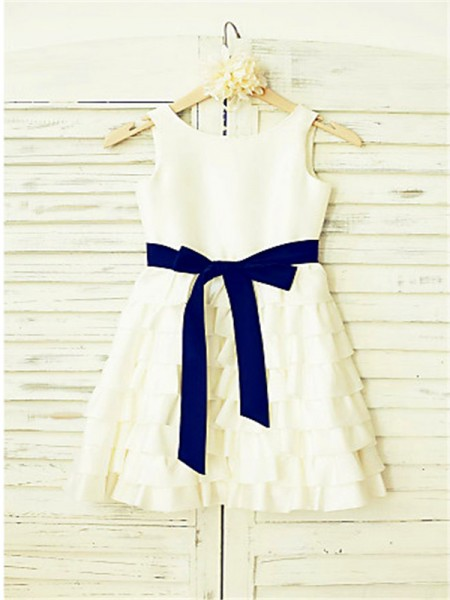A-line/Princess Sleeveless Chiffon Tea-Length Layers Straps Flower Girl Dresses