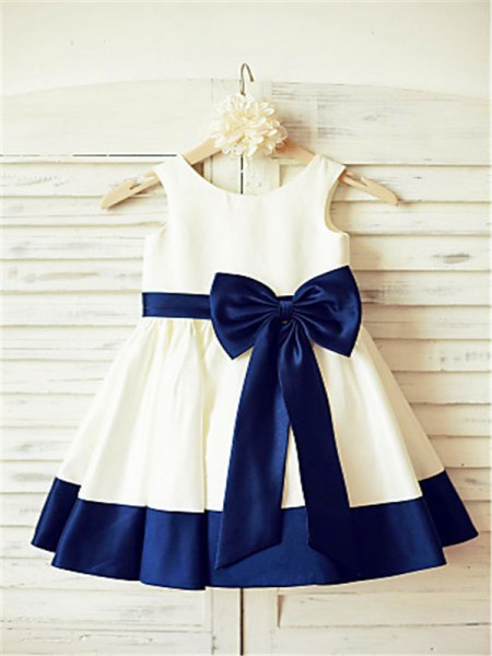 A-line/Princess Sleeveless Satin Tea-Length Bowknot Scoop Flower Girl Dresses