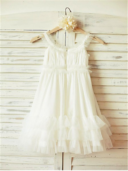 A-line/Princess Sleeveless Chiffon Floor-Length Ruffles Straps Flower Girl Dresses