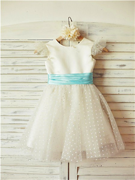 A-line/Princess Sleeveless Tulle Tea-Length Layers Jewel Flower Girl Dresses