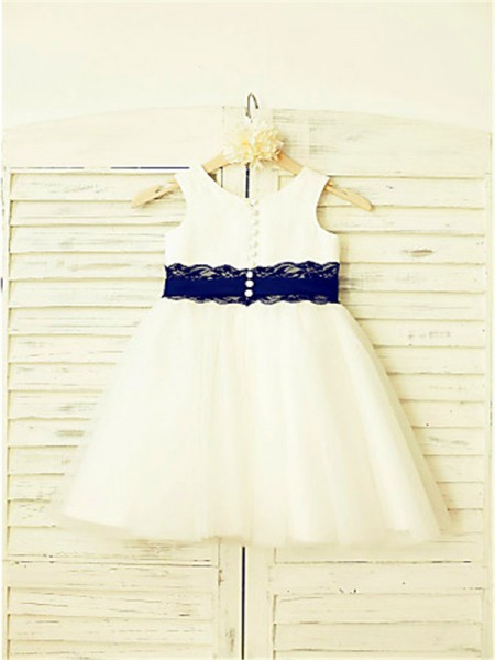 A-line/Princess Sleeveless Tulle Tea-Length Lace Scoop Flower Girl Dresses
