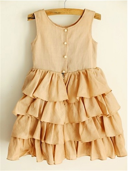 A-line/Princess Sleeveless Chiffon Tea-Length Layers Scoop Flower Girl Dresses