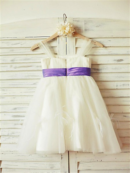 A-line/Princess Sleeveless Tulle Floor-Length Ruffles Straps Flower Girl Dresses